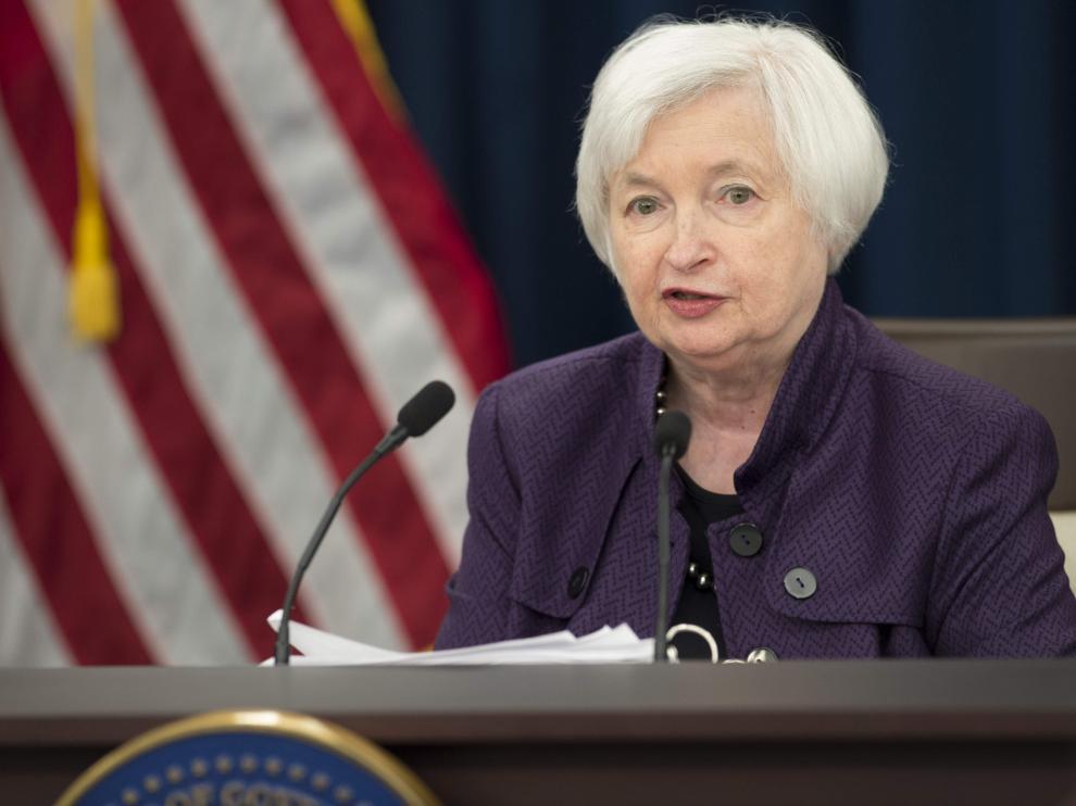 La presidenta de la Reserva Federal, Janet Yellen, durante la rueda de prensa