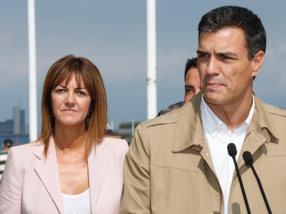 El secretario general del PSOE, Pedro Sánchez, intervino en un acto electoral hoy en Portugalete (Bizkaia) junto a la candidata socialista a lehendakari, Idoia Mendia.