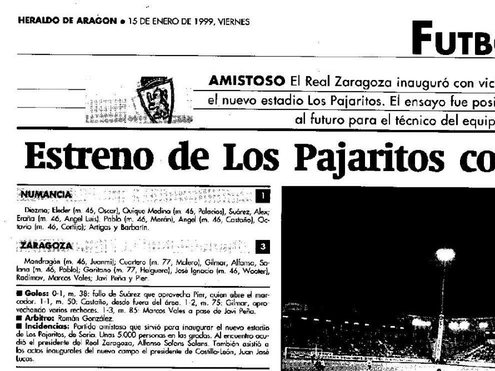 Encabezamiento de la información del partido en el que el Real Zaragoza acudió a Soria para inaugurar junto al Numancia el nuevo estadio de Los Pajaritos, en enero de 1999.
