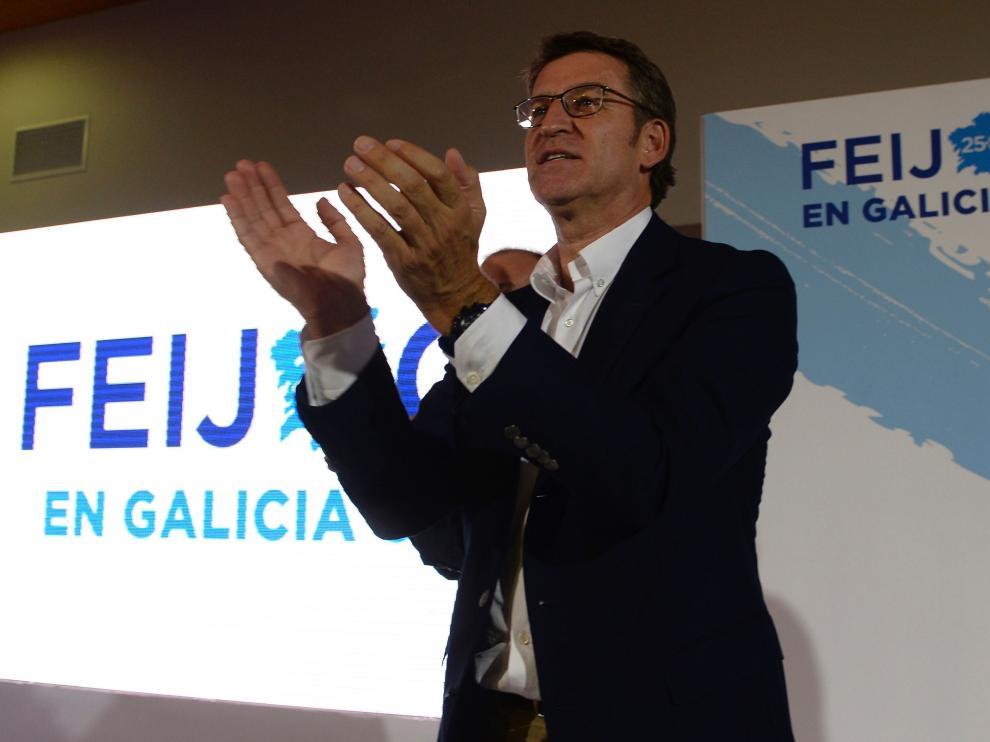 Alberto Núñez Feijóo este domingo tras valorar el resultado de las elecciones.
