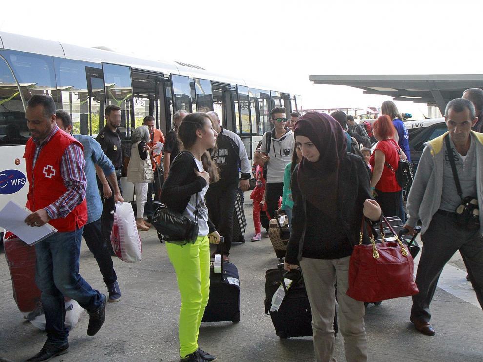 Llegada de refugiados a España procedentes de Grecia.