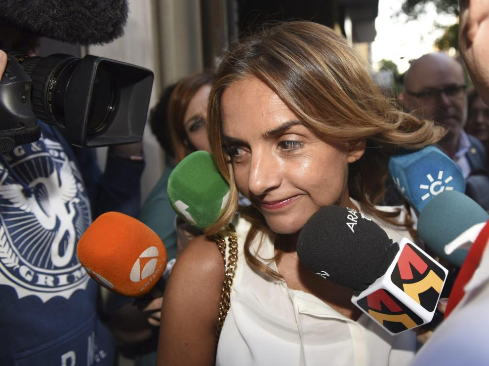 La ejeana Susana Sumelzo, al entrar al comité federal.