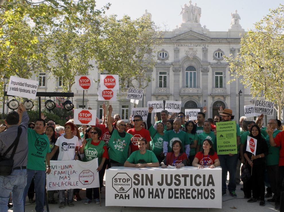 Concentración de la PAH en Madrid, este jueves.
