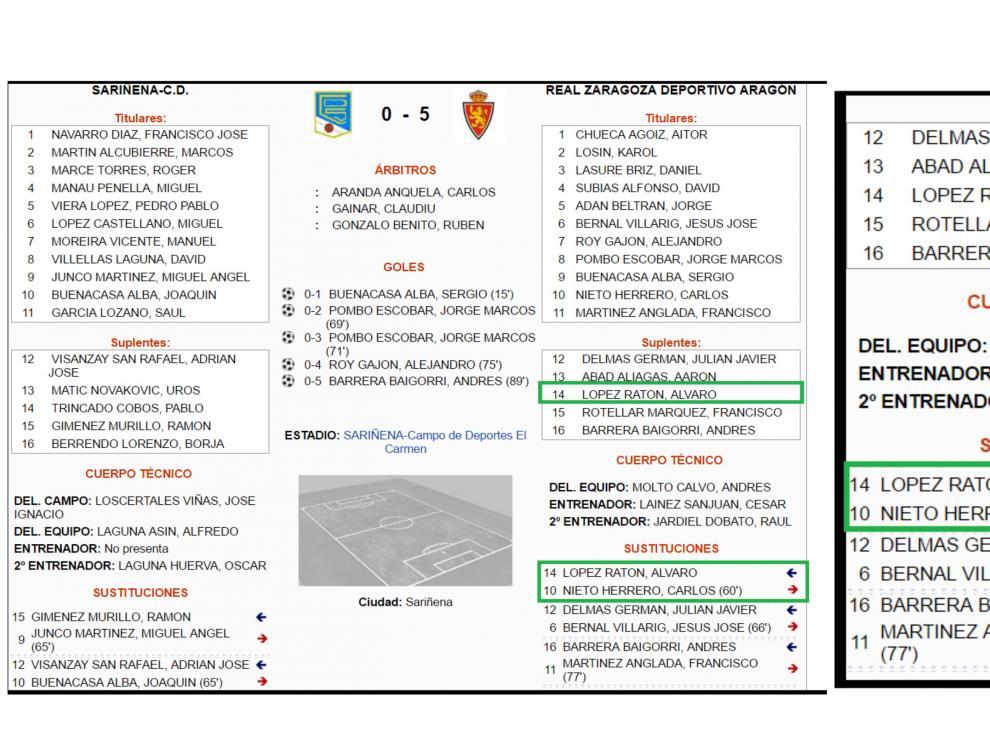 Acta oficial del partido Sariñena-RZD Aragón. A la dcha., detalle del banquillo del filial zaragocista y la secuencia de las sustituciones, donde Ratón aparece reseñado por el árbitro.