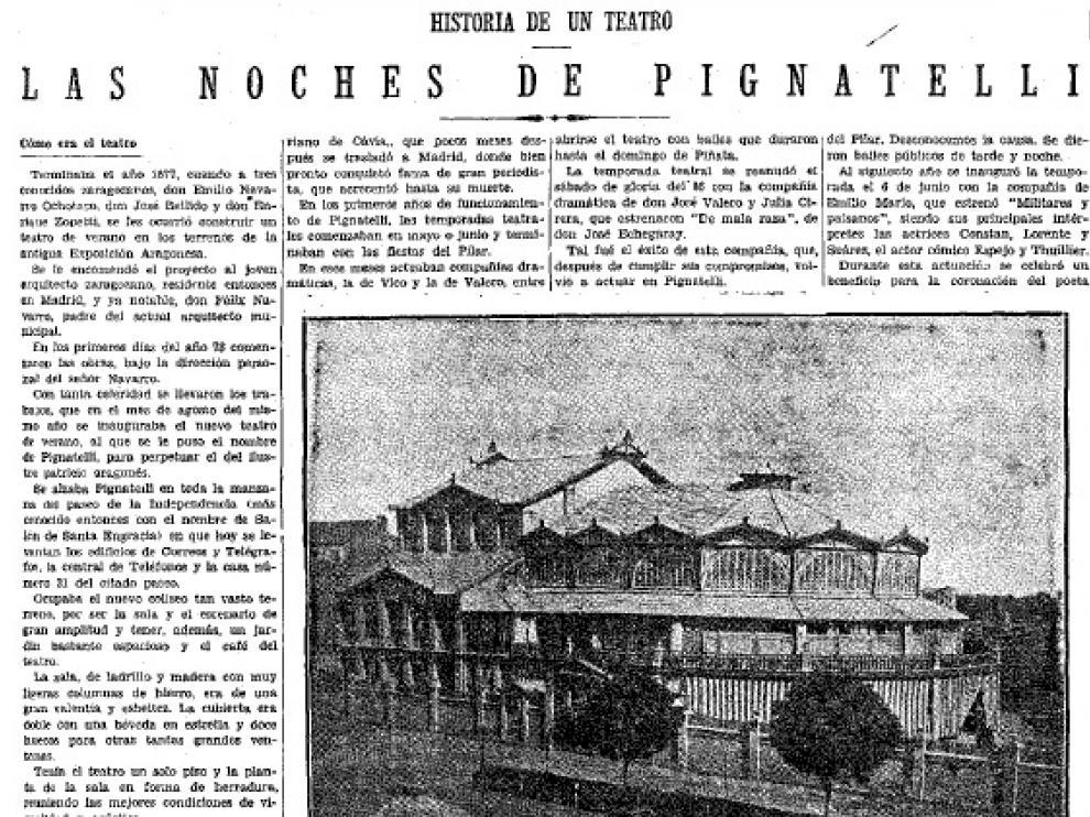 Recorte de Heraldo de Aragón que da cuenta de una de las visitas de Papuss al teatro Pignatelli de Zaragoza.