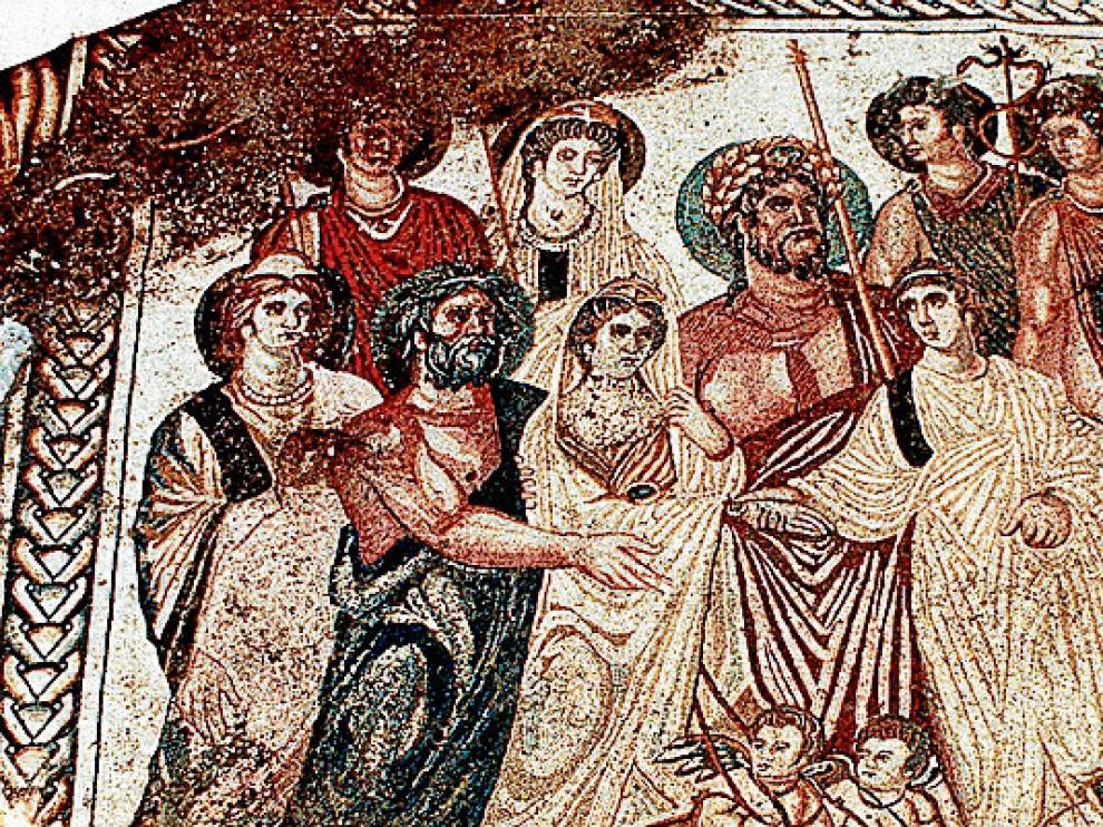 Uno de los importantes mosaicos que aparecieron en Azuara.