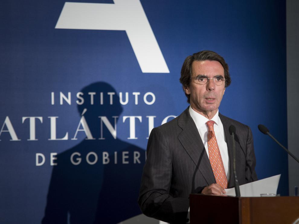 José María Aznar, durante su intervención en la inauguración del curso académico del Instituto Atlántico .