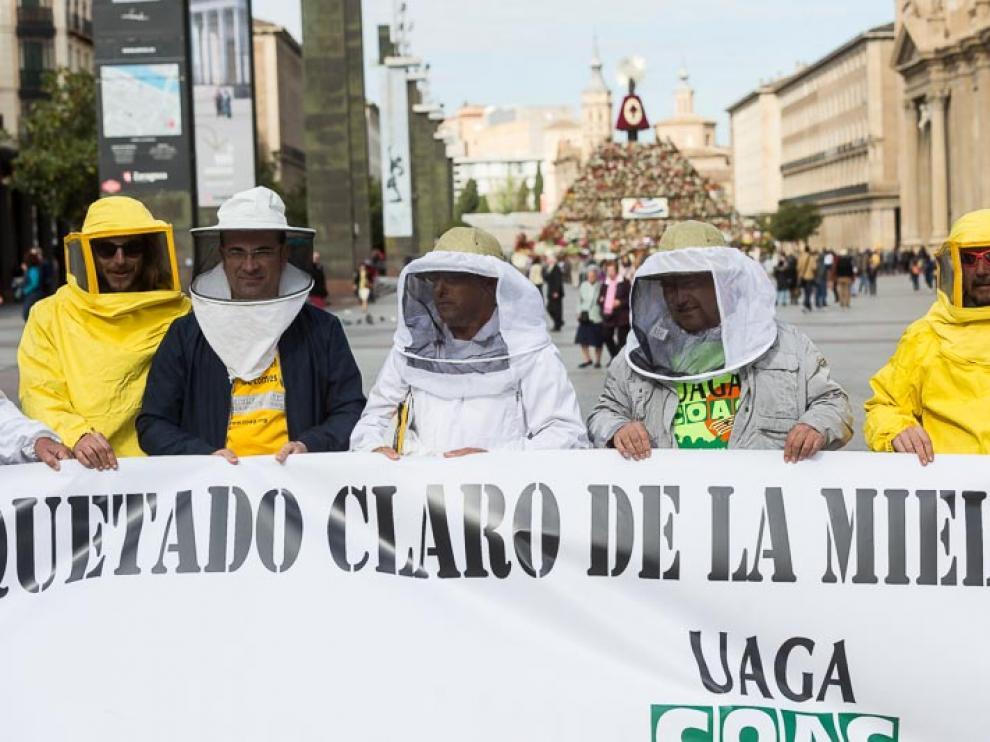 Protesta de apicultores aragoneses en la Plaza del Pilar