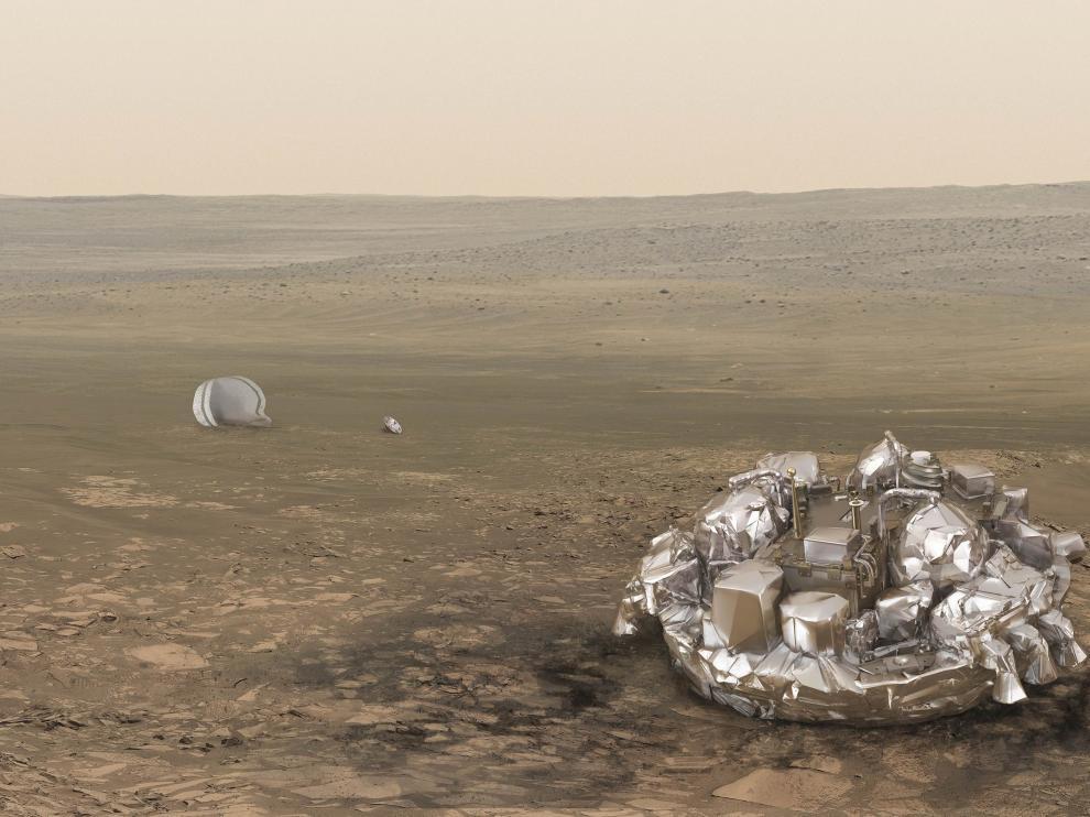 Recreación de la sonda europea en Marte.