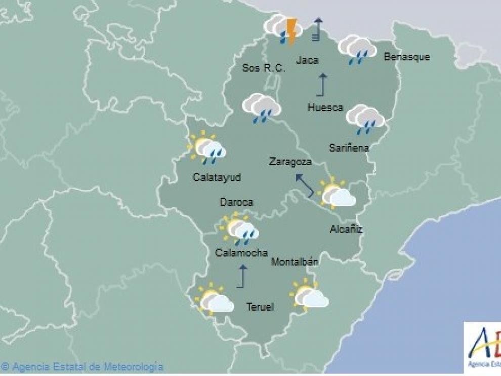 Alerta por lluvias de hasta 80 litros por metro cuadrado en el Pirineo