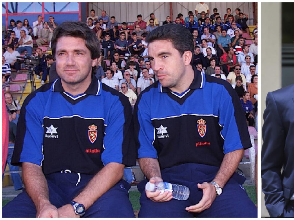 A la izda., Juanma Lillo y Narciso Juliá, en el verano de 2000, en un amistoso jugado por el Real Zaragoza en Teruel (curiosamente, la ciudad de Milla). A la dcha. Juliá acompaña a Luis Milla camino de La Romareda el pasado mes de junio.