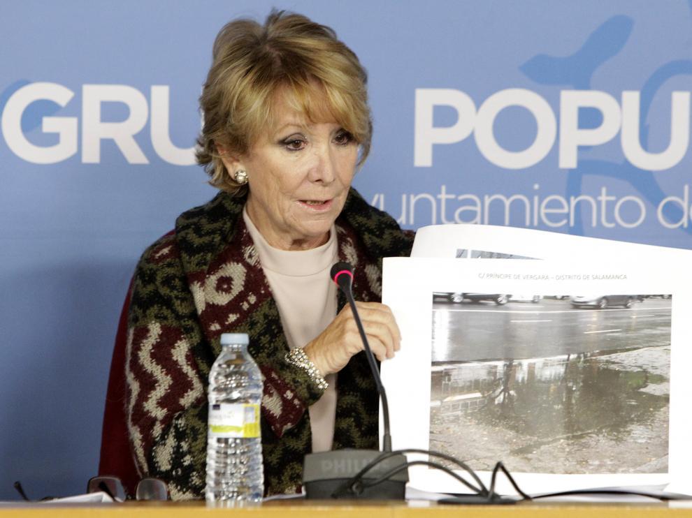 Esperanza Aguirre, este lunes en Madrid.