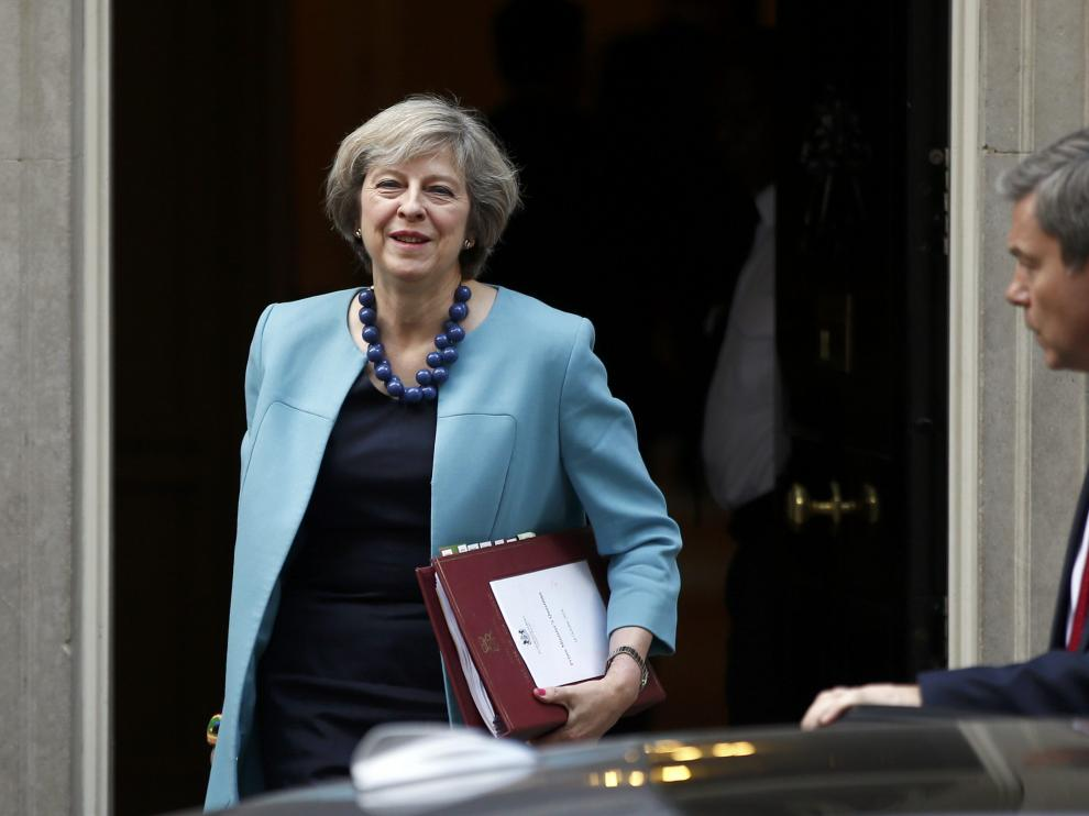 Theresa May, en la puerta de Downing Street.