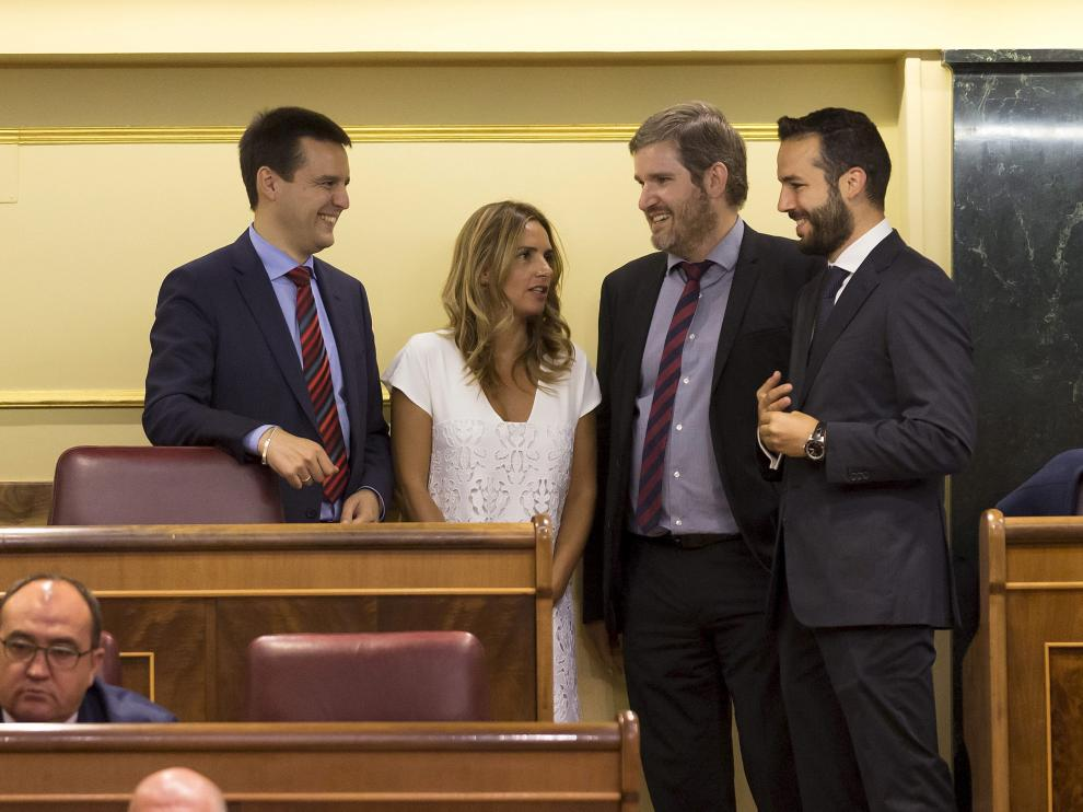 Los diputados socialistas Óscar Galeano, Susana Sumelzo, Ignacio Urquizu y Gonzalo Palacín.