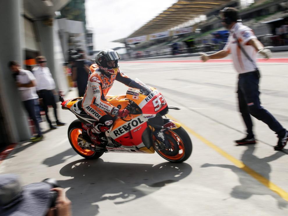 Márquez durante la primera sesión de pruebas libres.