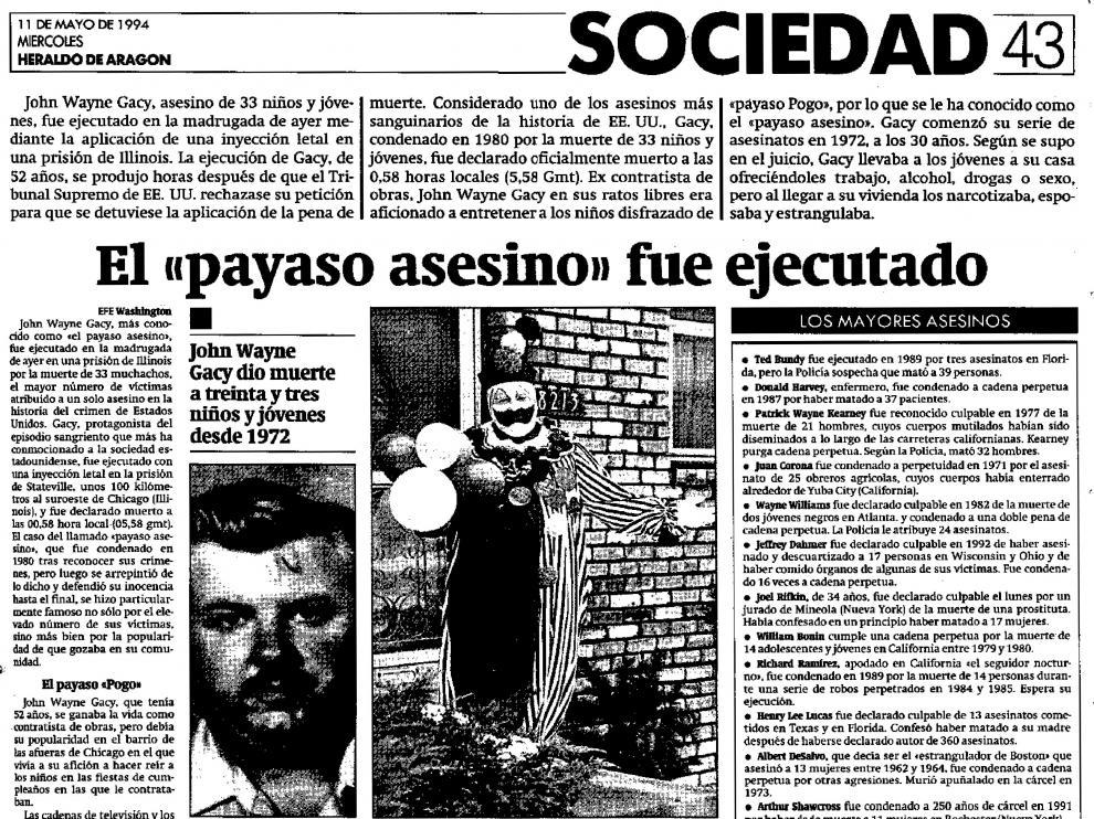Noticia publicada por HERALDO DE ARAGÓN sobre la ejecución de John Wayne Gacy, el 'payaso asesino'