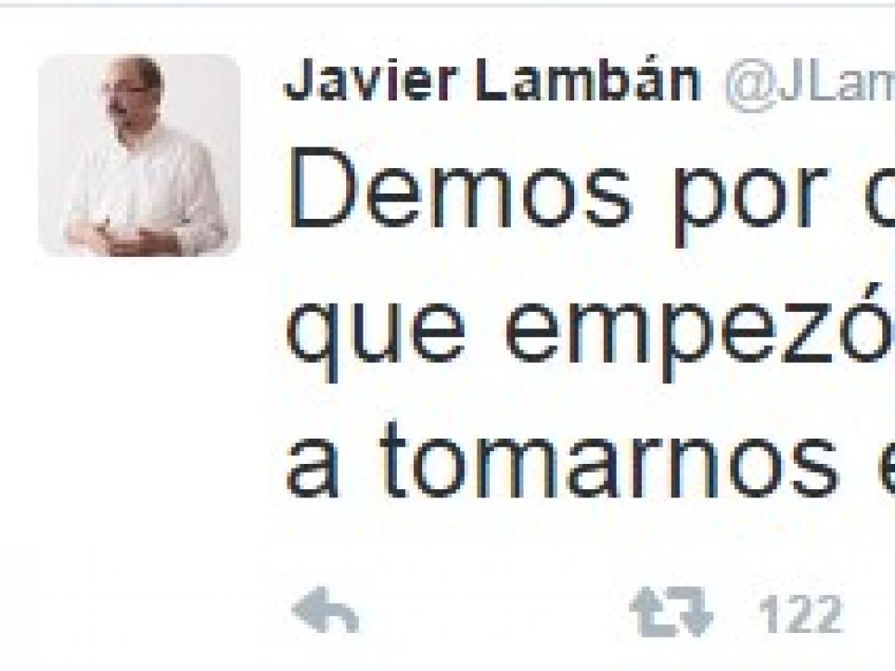 Mensaje de Javier Lambán en Twitter sobre la renuncia de Sánchez