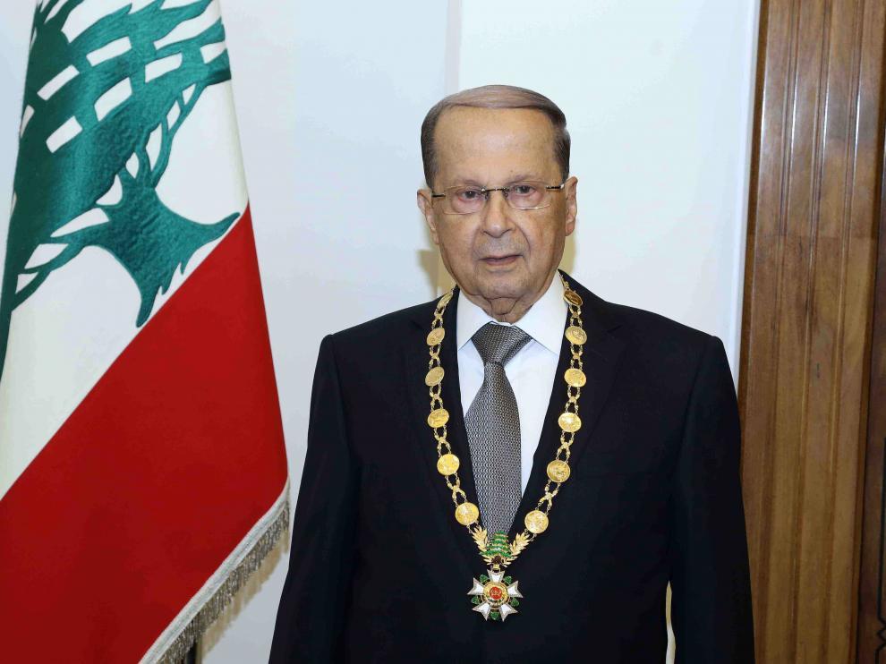 El presidente libanés, el exgeneral Michel Aoun.
