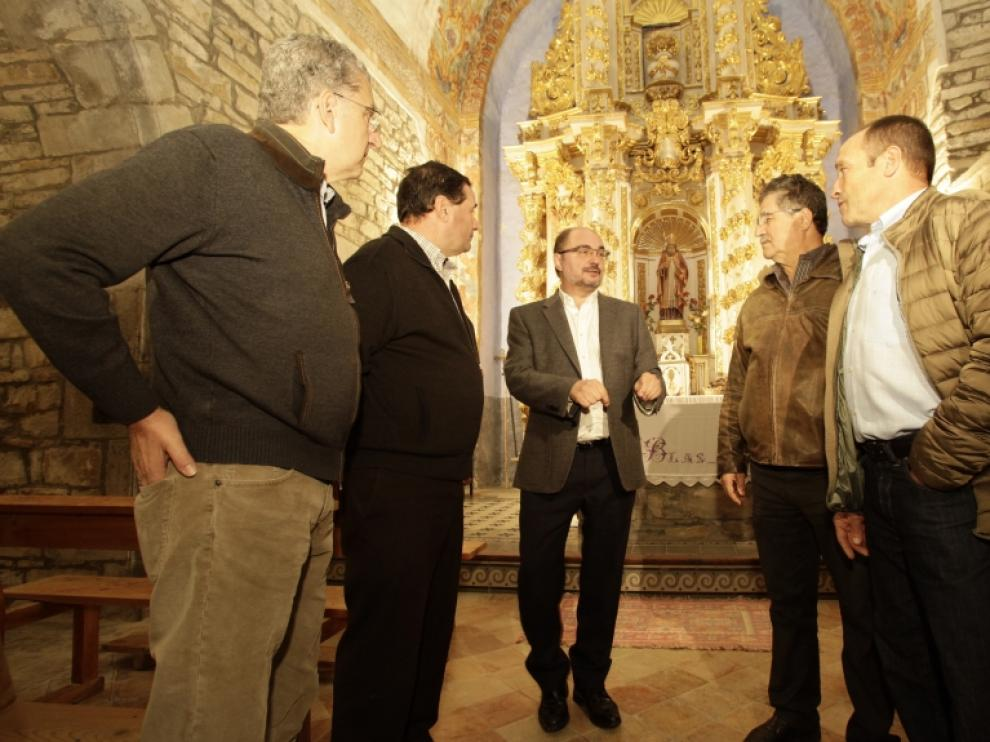 El Presidente Lambán ha visitado las obras del Monasterio de San Victorián.