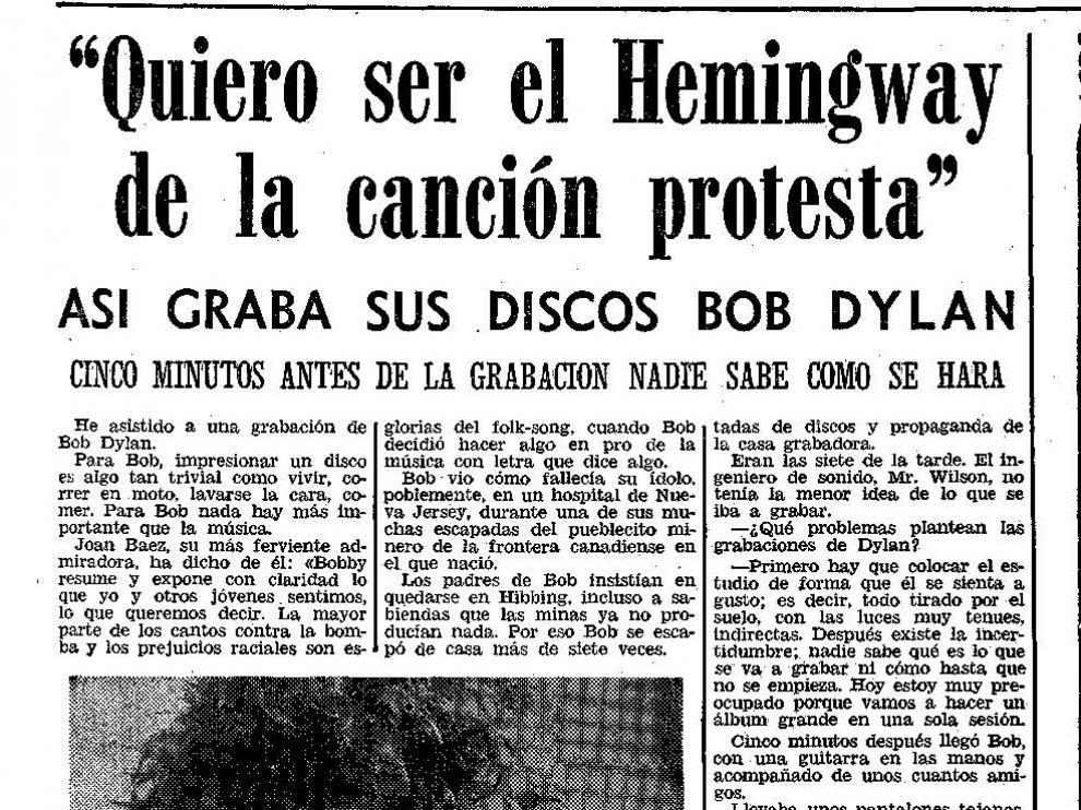 Reportaje publicado en HERALDO sobre Bob Dylan hace 50 años.