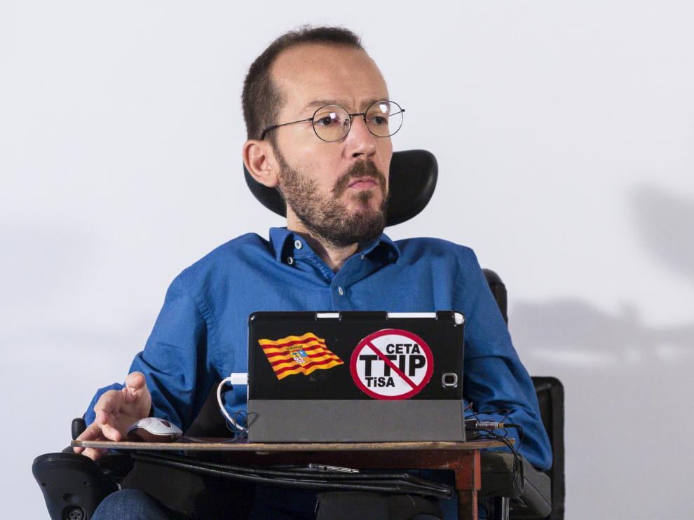Pablo Echenique, este miércoles en Zaragoza.