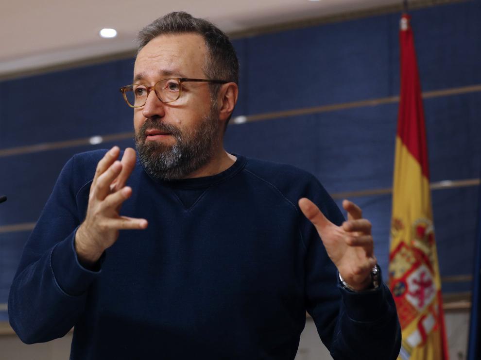 Juan Carlos Girauta durante su comparecencia tras conocerse la composición del nuevo Gobierno.