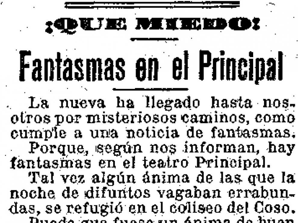 Noticia publicada por HERALDO DE ARAGÓN sobre la aparición de un fantasma en el Teatro Principal.