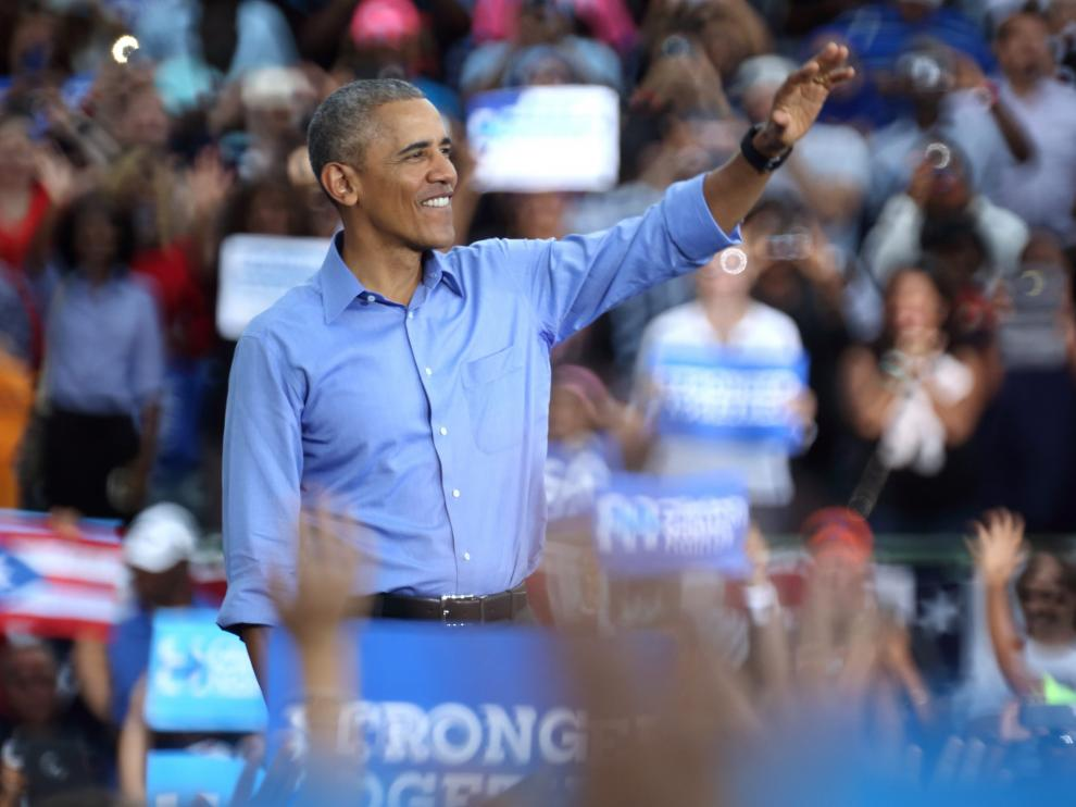 Barack Obama durante el mitin de este domingo.
