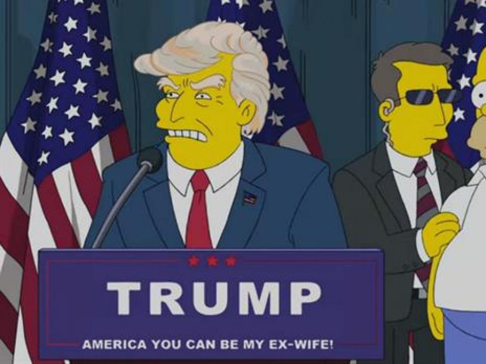 Una captura del episodio en el que hace más de una década 'Los Simpson' ya hacían presidente a Trump.