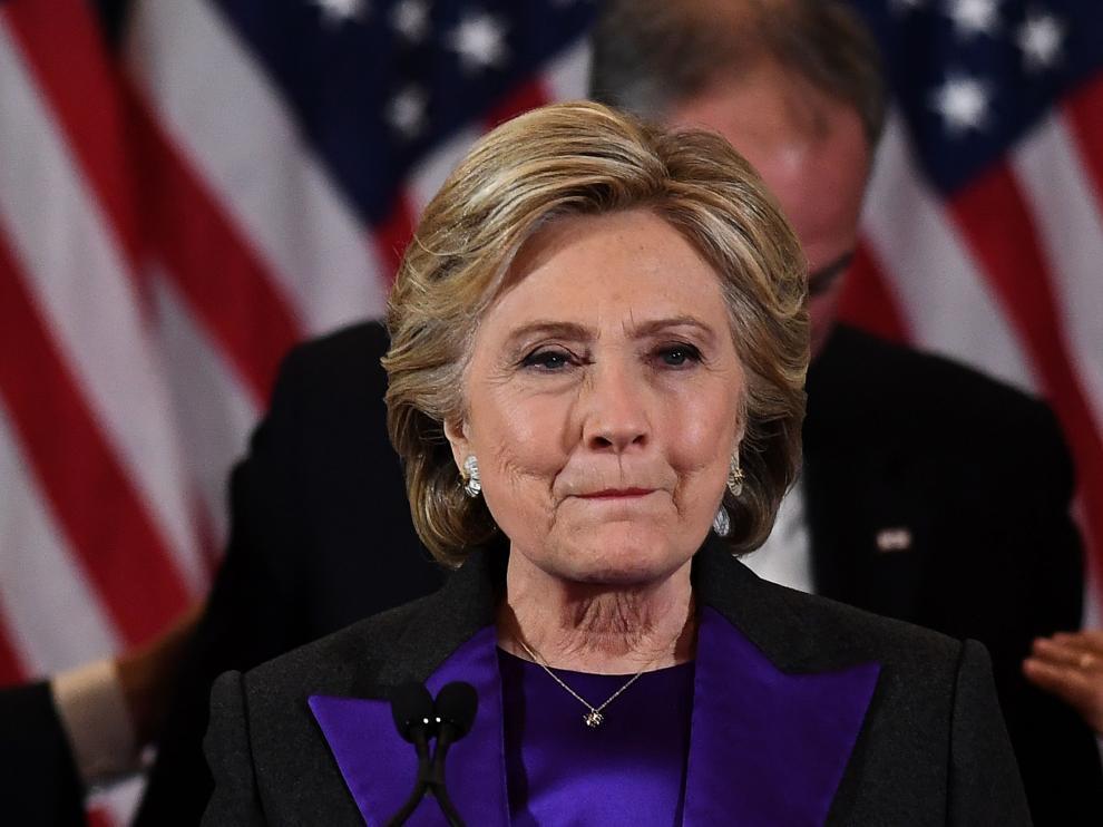Hillary Clinton, visiblemente emocionada durante su comparecencia