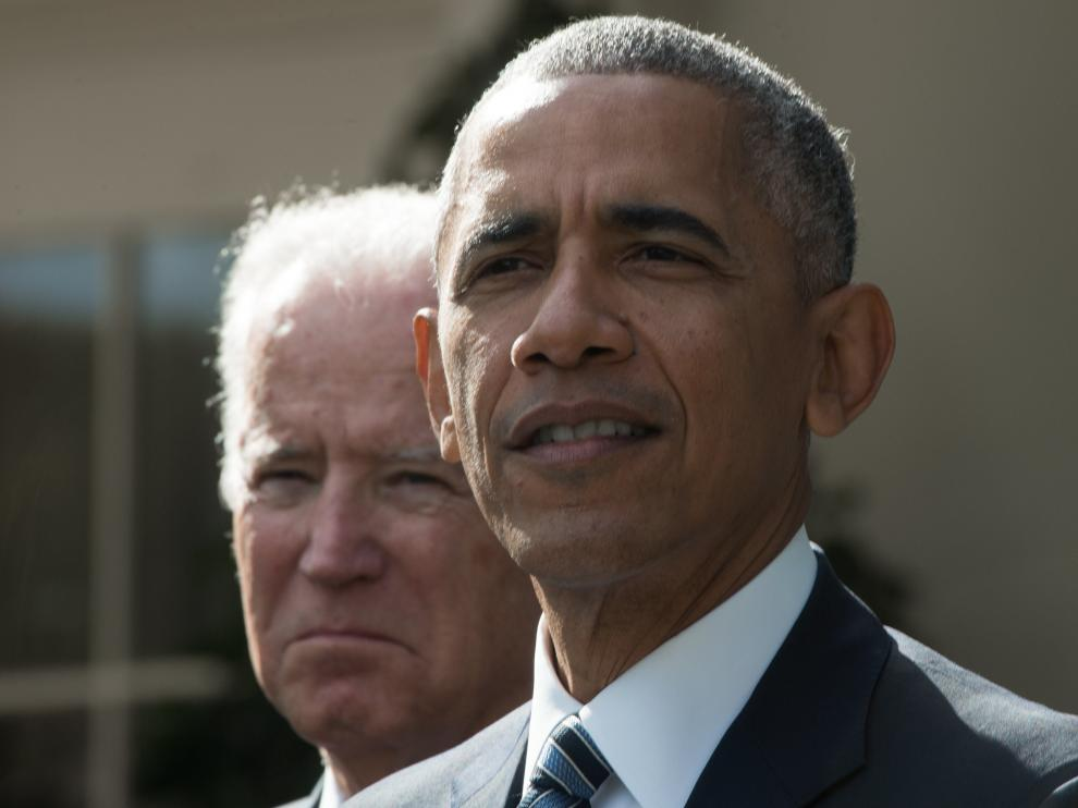 Barack Obama en una comparecencia junto al vicepresidente Joe Biden.