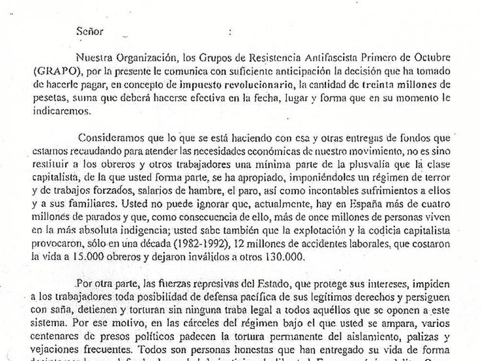 Las cartas de extorsión se enviaron el 1 de agosto de 1998.