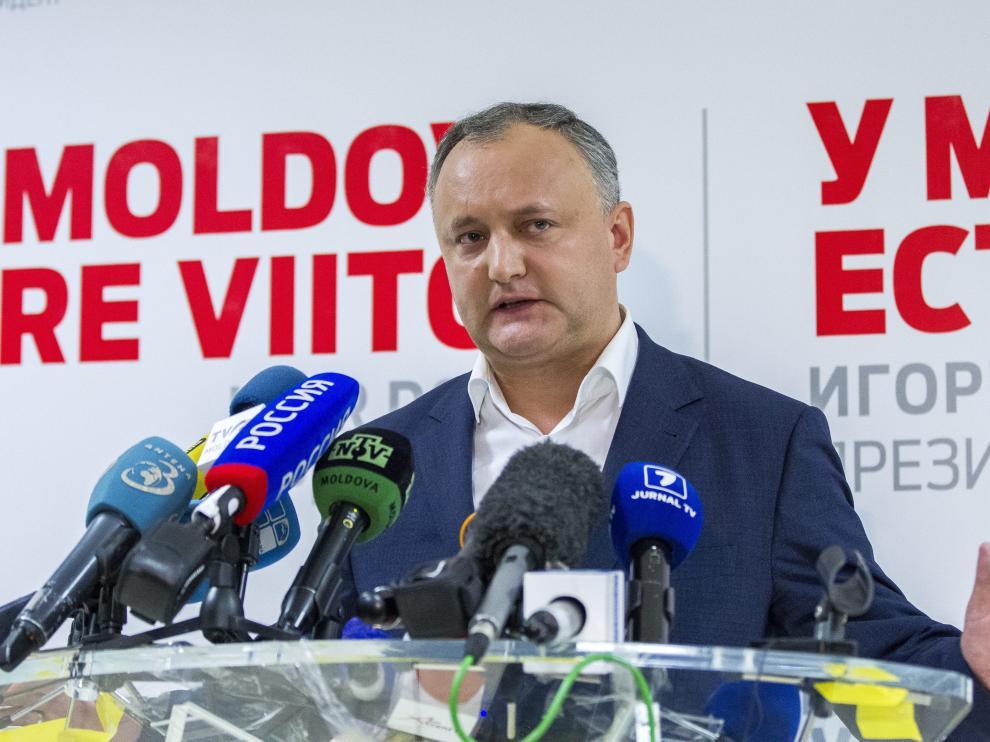 Igor Dodon tras la segunda ronda de las elecciones presidenciales.