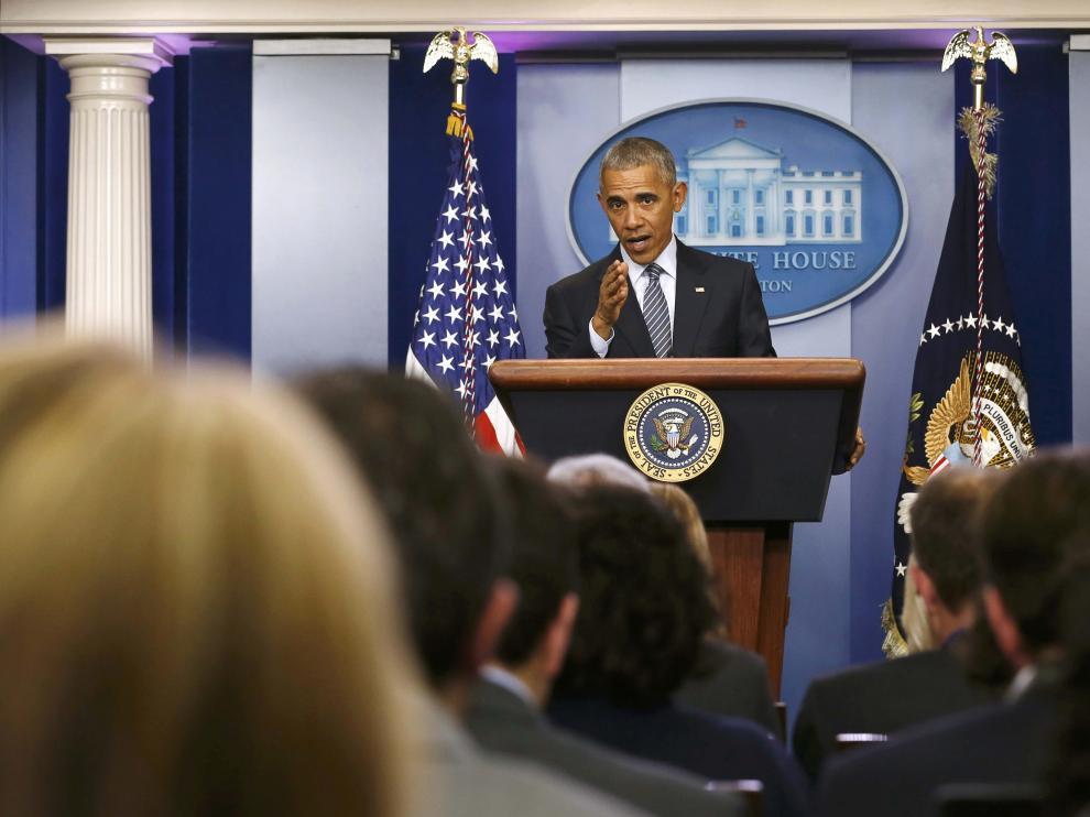 Obama, en la rueda de prensa de este lunes.