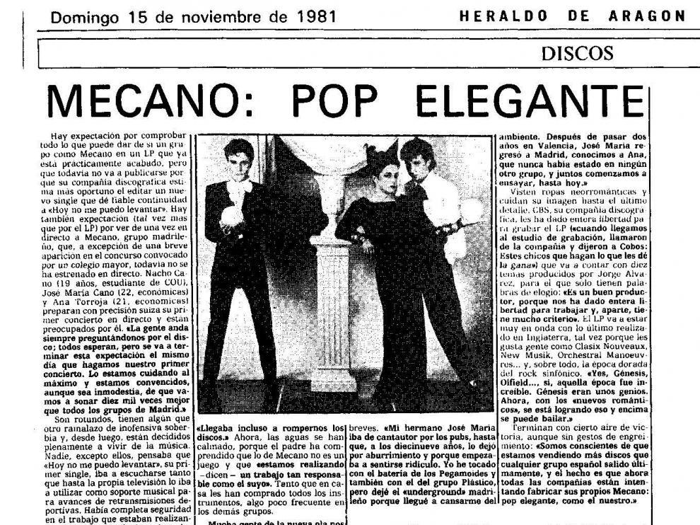 Primera noticia sobre Mecano aparecida en HERALDO DE ARAGÓN, el 15 de noviembre de 1981.