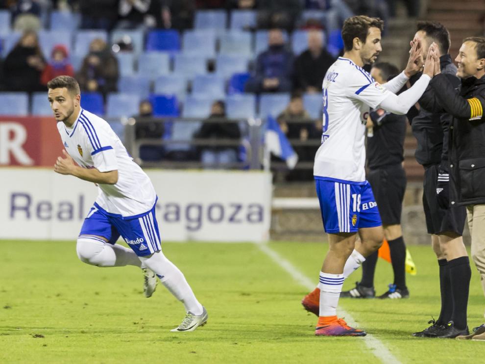 Xiscu en el momento de su debut con el primer equipo del Real Zaragoza.