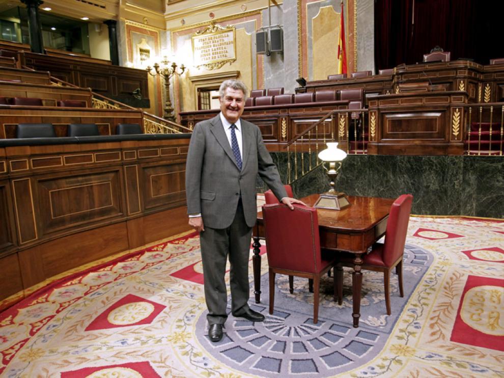 El presidente del Congreso y candidato del PP por Soria, Jesús Posada, en la Cámara Baja.