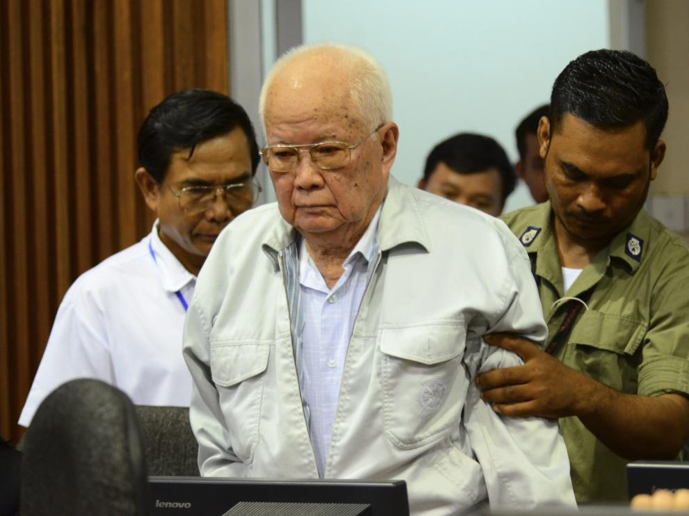 El exjefe de Estado del régimen, Khieu Samphan, de 84 años
