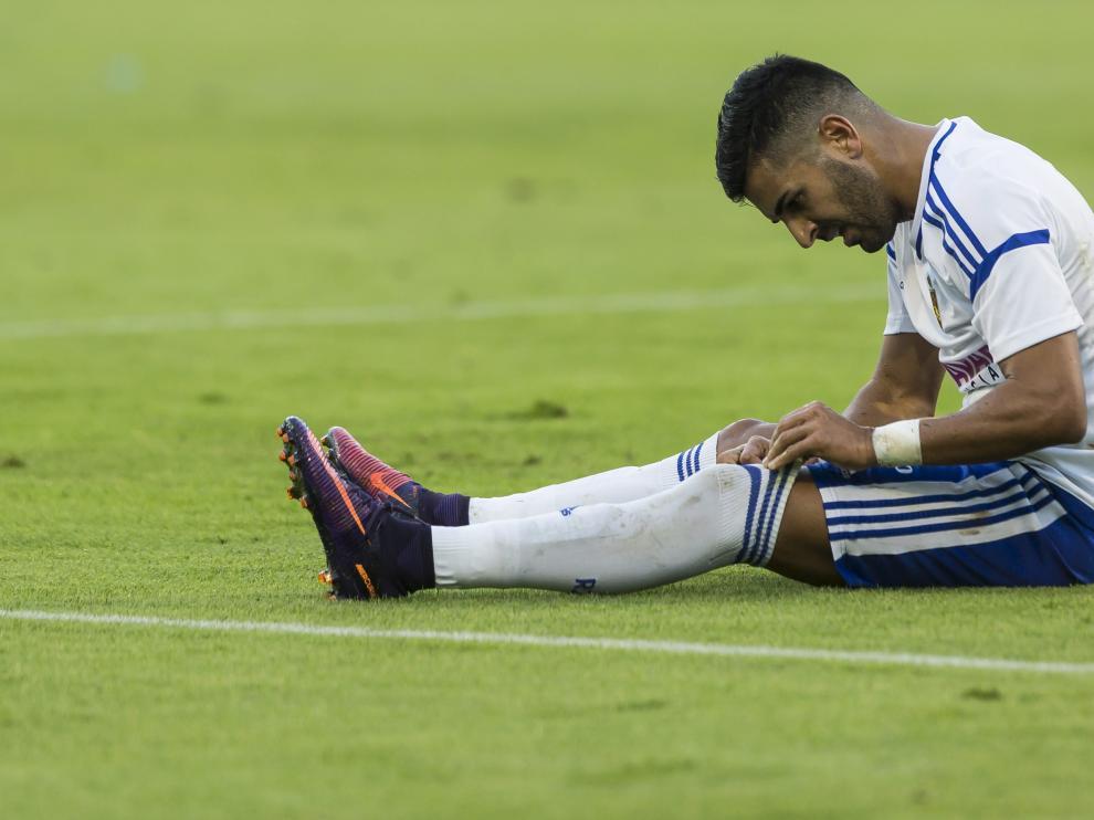 Ángel, durante el partido con el Almería, cuando consiguió su último gol.