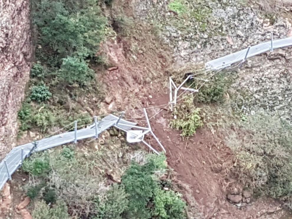 La ruta de las pasarelas de Alquézar, cerrada.