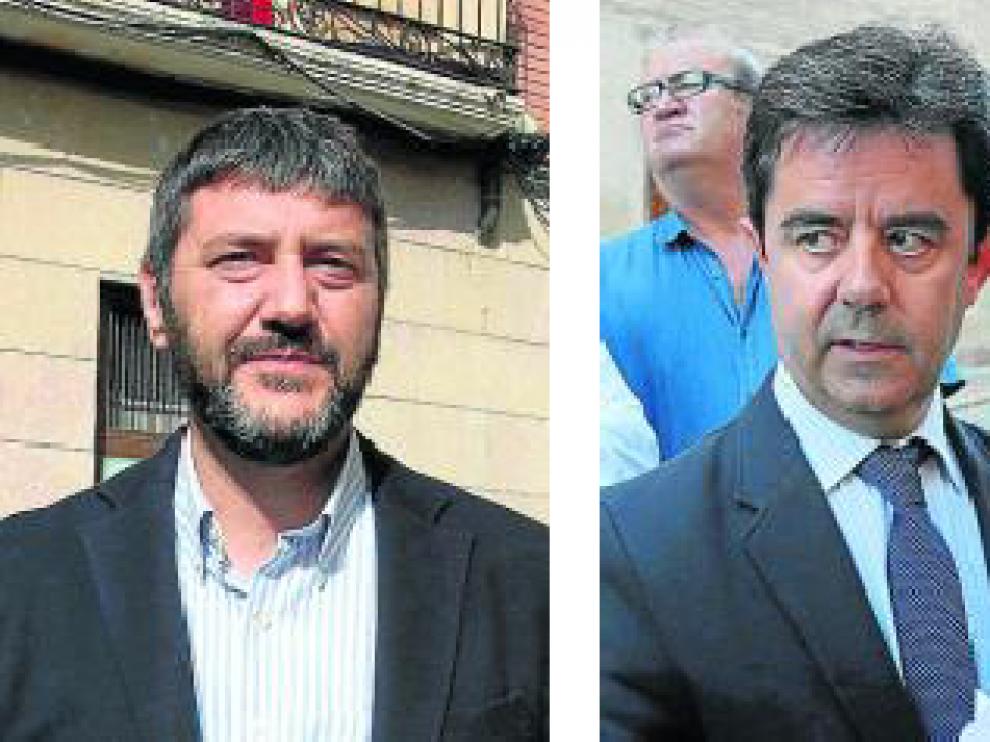 Gerardo Oliván, portavoz del PSOE, y Luis Felipe, Alcalde de Huesca