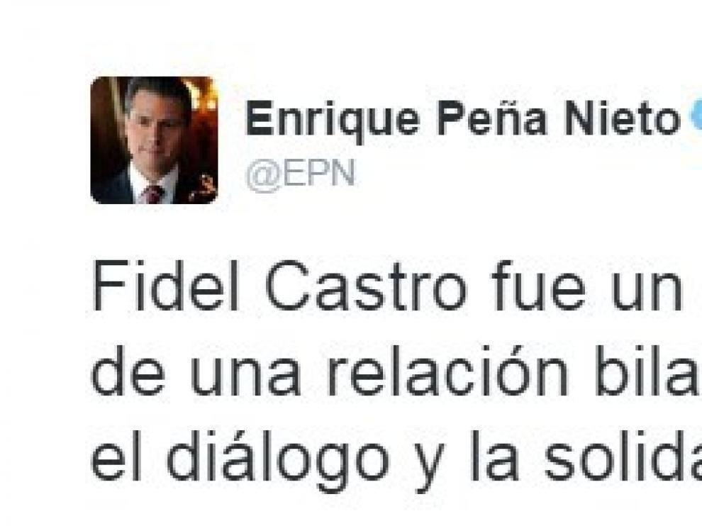 Peña Nieto envía sus condolencias a través de Twitter.