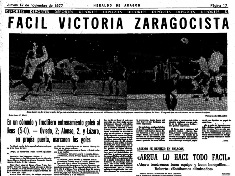 Encabezamiento de la crónica de HERALDO DE ARAGÓN del Real Zaragoza-Reus Deportivo de hace 39 años, en una eliminatoria de Copa en 1977.