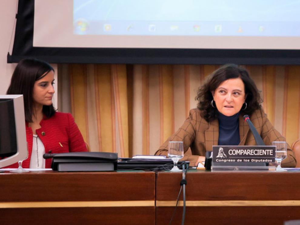 Teresa Díaz de Terán (Cepyme) durante su intervención ante la Comisión parlamentaria del Pacto de Toledo.