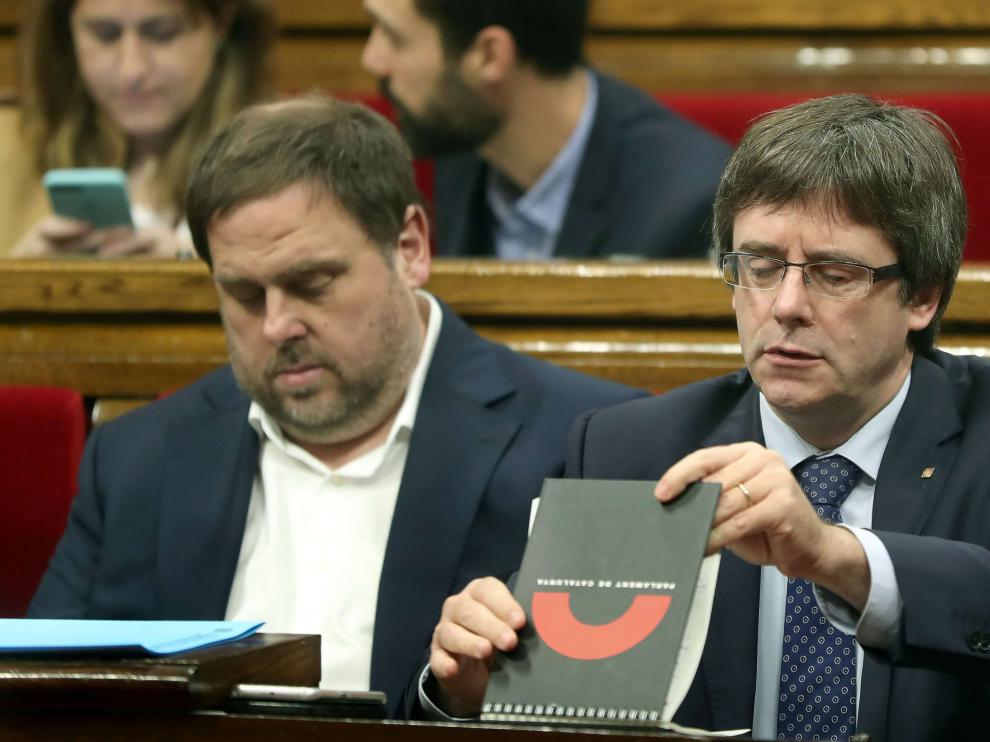 Oriol Junqueras y Carles Puigdemont en una foto de archivo.