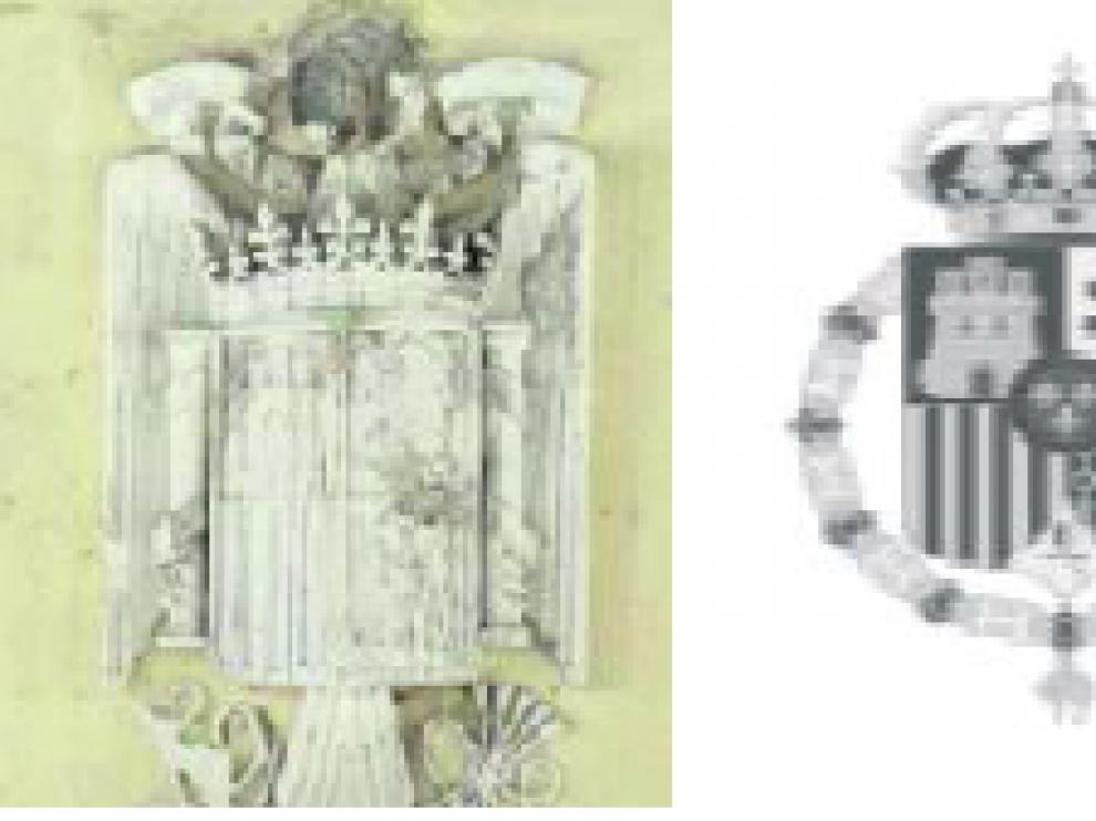 El escudo se encuentra en el muro sur del vestíbulo que se restaurará el verano de 2017