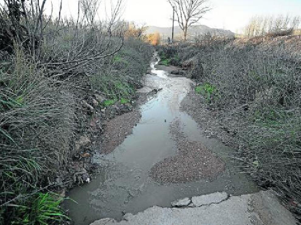 Las aguas fecales, por el lecho de un barranco a la afueras de Villaspesa al obstruirse el colector.