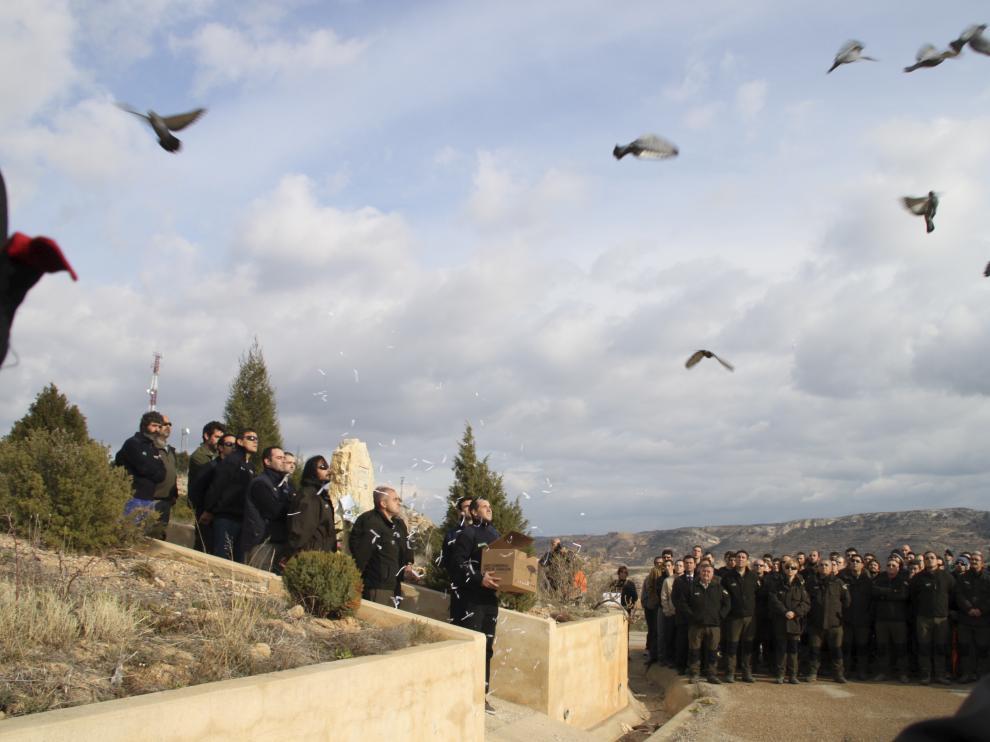 Imagen de archivo del homenaje a las víctimas del accidente de la brigada helitransportada de Alcorisa.