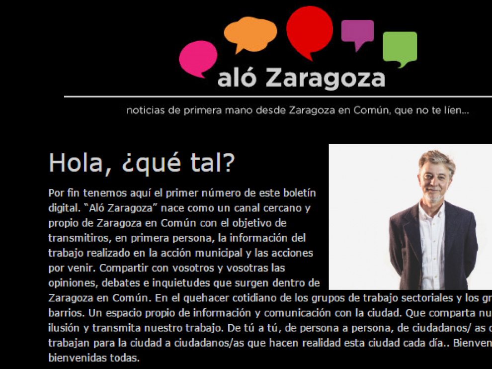 El portal informativo creado por Zaragoza en Común, 'Aló Zaragoza'.