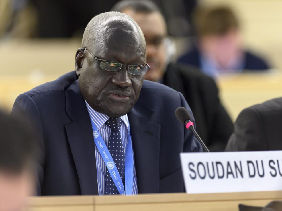 El representante de Sudán del Sur, Kuol Alor Kuol Arop en la sesión del Consejo de DD.HH. de la ONU.